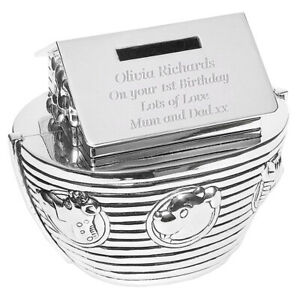 Personalised Noah's Ark Money Box Childs Silver Plated Birthday Gift, Engraved