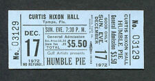 1972 Humble Pie unused concert ticket Tampa Steve Marriott 30 Days In The Hole