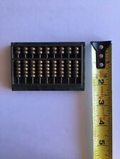 Vintage Miniature Chinese Abacus Paperweight Polished Green Marble Slab Brass