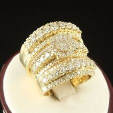 2.50 Ct Diamond Trio Set Matching Engagement Ring Wedding Band Yellow Gold Over