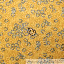 BonEful Fabric FQ Cotton Quilt Yellow Gold Gray Silver Cowgirl Horse Shoes Dot S