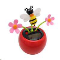 ALS_ EB_ Solar Powered Swing Dancing Flower Bee Toy Home Car Ornament Decor Gift