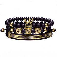 18K King Gold Crown Bracelet Luxury Charm Fashion Black Agate Beads Jewelry Men