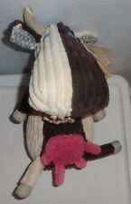 "Les Deglingos Milkos the Cow Soft Plush 10"" Ribbed Corduroy Cord Doll French"