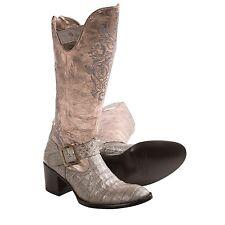 NIB WOMENS Old Gringo Noctua Caiman Cowboy Boots Round Toe Grey Western Zip 8