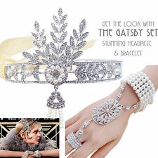 1920s Headband Gatsby Flapper Headpiece Vintage Hair Headbands Bracelet Ring Set