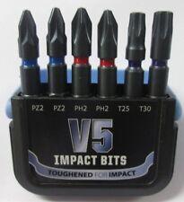V5 IMPACT POZI BITS PZ2 PH2 T25 T30 POZI TORX 50MM 6 PCE SET FITS MAKITA DEWALT