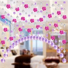 Crystal Glass Rose Bead Drapes Curtains Living Bedroom Window Door Wedding Decor