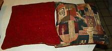 Pair of Brown Beige Russett Abstract Decorative Print Throw Pillows 18 x 18