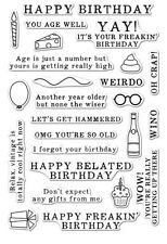 "Brand New Hero Arts  ""Irreverent Birthday Messages"" Poly Clear Sentiment Stamps"