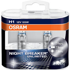 2 x H1 OSRAM NIGHTBREAKER UNLIMITED BULB UPGRADE SUPER BRIGHT 3700K +110% LUMEN