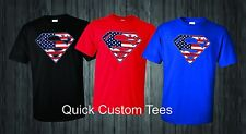 Superman t-shirts logo with american USA flag inside  COOL NICE DESIGN T-SHIRT