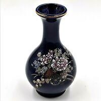 "Kutani Cobalt Blue Vase Gold Trim Colorful Flowers Cart 4.5"" Tall"