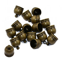 10pcs Antique Bronze Bell Shape Bead Leather Cord Ends Caps Jewelry Findings