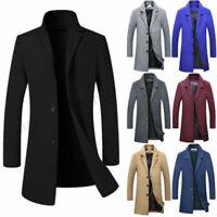 Men's Wool Blends Coat Winter Warm Trench Coat Outerwear Overcoat Long Jackets