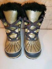 Sorel Kids Fuzzy Snow Boots Sz 11 Toddler Gold Glitter Slighty worn