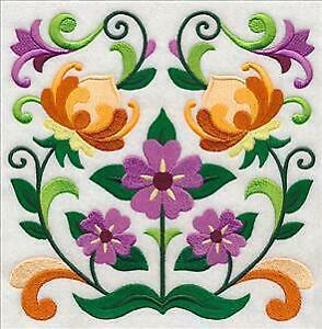 """Large Machine Embroidered Flower Square (M8627) Panel - size 7.80"""" x 7.75"""""""