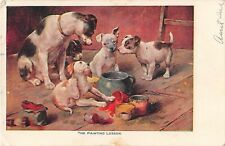 1908 PC of Mother Terrier Dog With Puppies Spilling Paint-The Painting Lesson