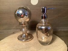 Target SOAP PUMP AND GLOBE DECOR SPLATTER GLASS LOT OF 2 APPROX. 8 INCHES TALL