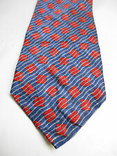 Metropolitan View Blue Red and Gray Striped Geometric Print Silk Necktie