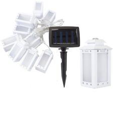 4m 10 Outdoor Garden LED Solar Hanging White Lantern Fairy Light Weatherproof