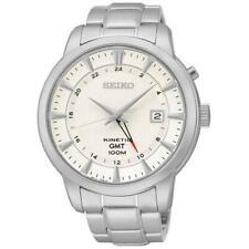 Seiko Kinetic GMT SUN029 P1 Silver with White Dial Men's Analog Watch