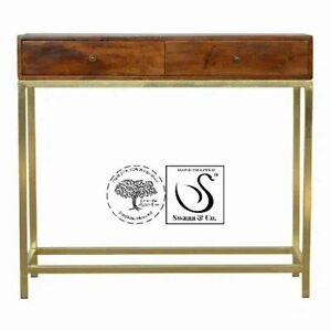 2 Drawer Console Table with Gold Iron Base