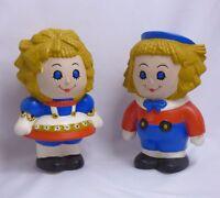 "Vtg 1974 Ceramic Rag Doll Boy & Girl Handmade Hand Painted 7"" Tall Figurine 70's"
