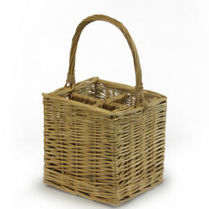 JVL 4 Bottle Steamed Willow Wicker Wine Drinks Gift Basket Holder Carrier