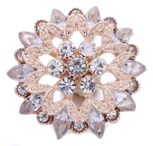Rose Gold White Clear Rhinestone Flower 20mm Snap Charm Button For Ginger Snaps