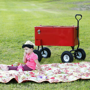 Clevr 80-Qt Red Rolling Cooler Wagon Ice Chest Cart Large Wheels Beaches Park