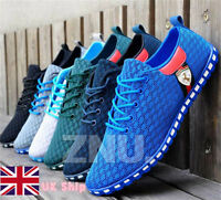 FASHAION MENS TRAINERS CASUAL MESH GYM LACE UP ABSORBING Walking Shoes UK Stock