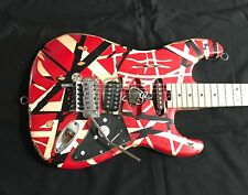 EVH Striped Series Red Black White Guitar Frankenstrat Modified & Reliced w/Case
