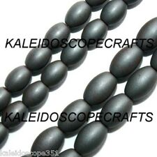 FROSTED HEMATITE BEADS 4X6MM RICE OVAL BEAD OVALS STRANDS HF3