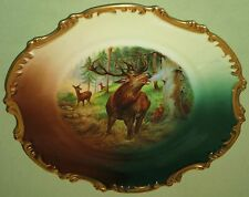 ANTIQUE ROYAL MUNICH DECORATIVE STAG PLAQUE CHARGER PLATE ZEH SCHERZER BAVARIA