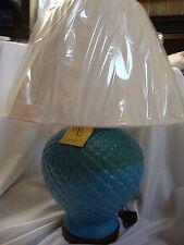 NEW RALPH LAUREN TURQUOISE BLUE PINEAPPLE GINGER JAR LAMP & WHITE SHADE