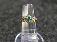 Vintage Ladies 1/2 CT Emerald & 6 Diamond 14K Yellow Gold Ring 4.3 Grams Sz. 6
