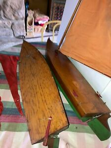 "Pair Antique Pond Boats Yachts 27"" Long, 7 1/2""Wide, 7 3/4"" Lead Keel"