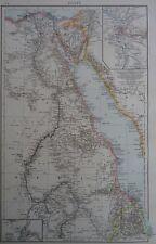1896 mappa vittoriana dell'Egitto Il Times ATLAS 1st Gen