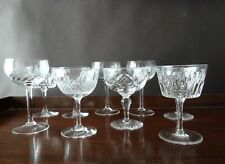 9 Vintage Crystal Champagne Glasses, Mixed Lot