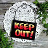 Mini Sign KEEP OUT Wood Ornament Everyday Decor DoorKnob Sized New USA DecoWords