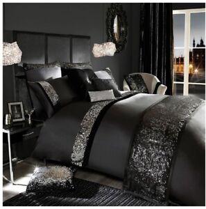 5 Pc Luxurious Queen Size Duvet Cover Sequin Design Black Egyptian Cotton Set