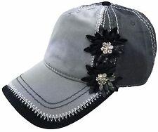 Women's Bling Baseball Cap Black Grey Trucker Hat Rhinestone Embellished Flowers