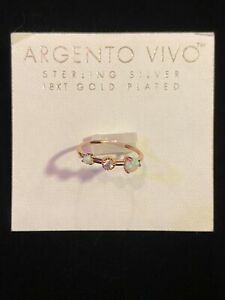 Argento Vivo Women's Opal Ring Sterling Silver 18KT Gold Plated Size 6 NWT