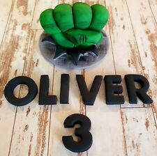 Edible Fondant Hulk Fist! 10cm Avengers! CAKE TOPPER! With Name and Age!
