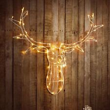 NEW Reindeer Stag Head 80 LED's Light Up Warm White Christmas Wall Decoration