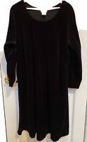 Beautiful Black Velvet Look Polyester Women's Dress Plus Size 1X Long Sleeves