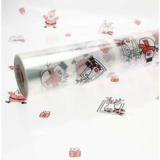10M x 80cm Length Christmas Clear Cellophane Gift Wrap With Christmas Characters