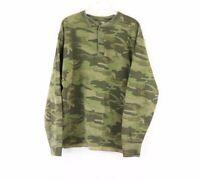 Vtg 90s LL Bean Mens Large Wool Camouflage Long Sleeve Henley Thermal Shirt USA