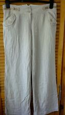 Women's beige and white striped linen blend trousers River Island size 10 tall